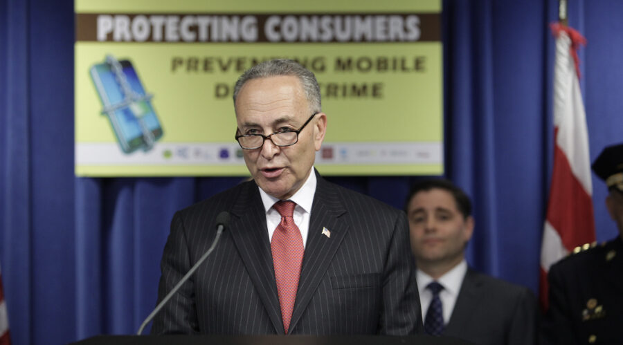 Senator (D-NY) Charles E. Schumer speaks in support announcing a new legislatation to protect consumers from data and smartphone theft.